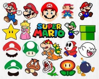 2cd3831d Super Mario bros Svg, Mega pack bundle, Mario hat, mario characters  clipart, cutfiles, luigi, boo, bowser, peach, bomb, goomba, ppipe svg