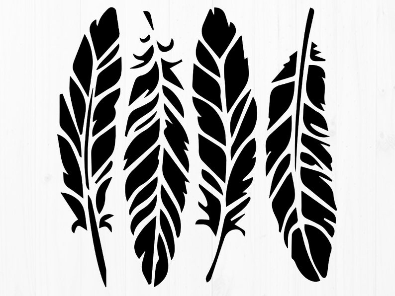graphic regarding Feather Stencil Printable known as Feather Svg, Boho Feather stencils, Feathers cutfiles, eps, dxf, png for Cricut Silhouette Cameo, printable feathers, sbook, clipart
