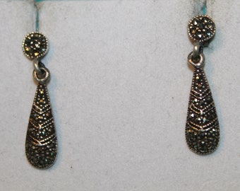6792a1643 Vintage Sterling Silver Marcasite Earrings
