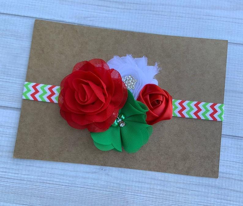 Red Green White Christmas Headband Christmas headband Christmas Baby Headband Holiday headband  Girl Toddler Headband Vintage Headband