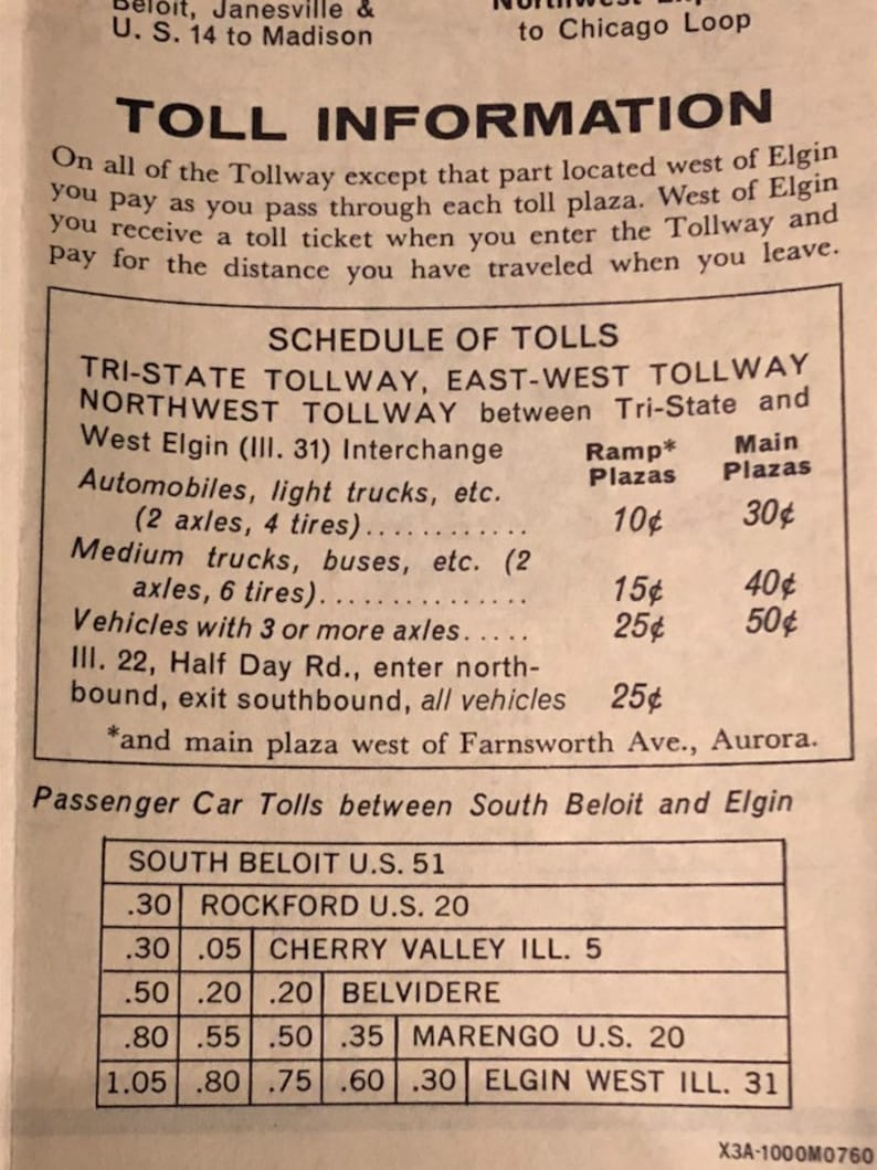 Vintage 1960 Illinois Tollway Map Chicago