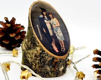 Personalised photo log stumps   alternative photo frames   unique natural gift   photos on wood   family photo display   5 year anniversary