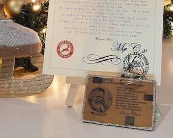 LUXURY reusable wood Santa North Pole lost I.D badge sleigh flying license & follow up personalised christmas letter from father christmas