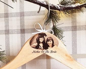Personalised Photo Wedding Hangers, Bespoke hangers, Wood Coat Hangers, Bridesmaid Gift, Wedding Dress Hanger