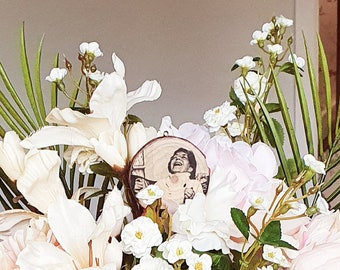 Personalised bouquet charm - flower pick - log slice photo - small