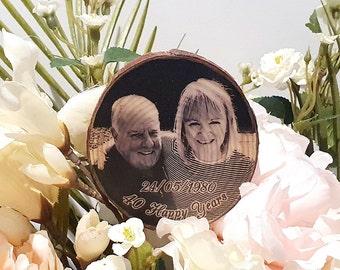Bouquet charm - flower pick - personalised photo on log slice - medium