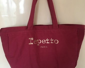 Repetto red gold canvas cotton large tote bag shoulder bag ballet bag  Paris French Vintage Authentic 3c950b7cee