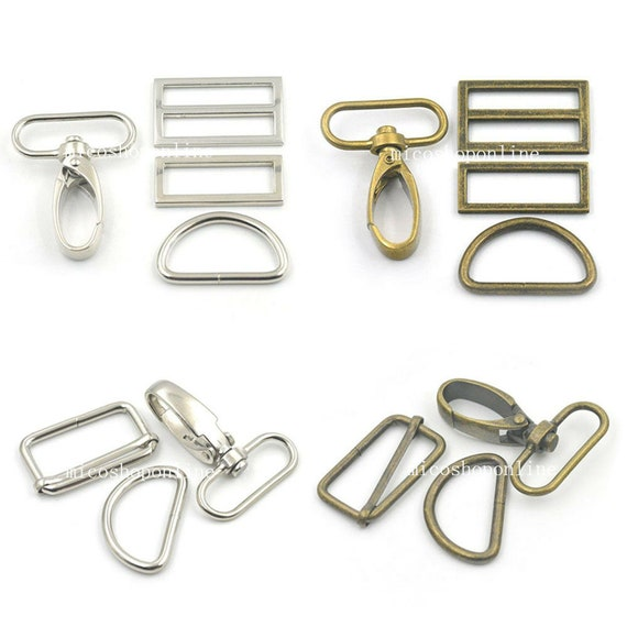 2 Sets 1.5 38mm Swivel Snap Hook Clips Buckles Triglides D Ring Rectangle Strap Snap Bronze