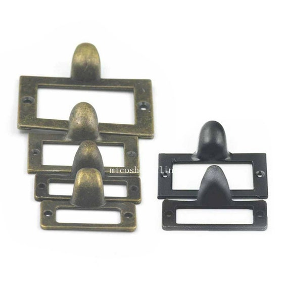 10 Pcs Home Cabinet Frame Handle Drawer Label Tag Pull File Name Card Holder Screw SizeA Bronze