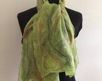 Green Nuno felted scarf