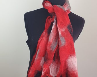 Red black and white Nuno felted scarf.