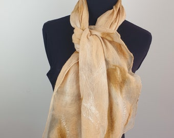 Light brown Nuno felted scarf