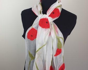Red poppies on white silk