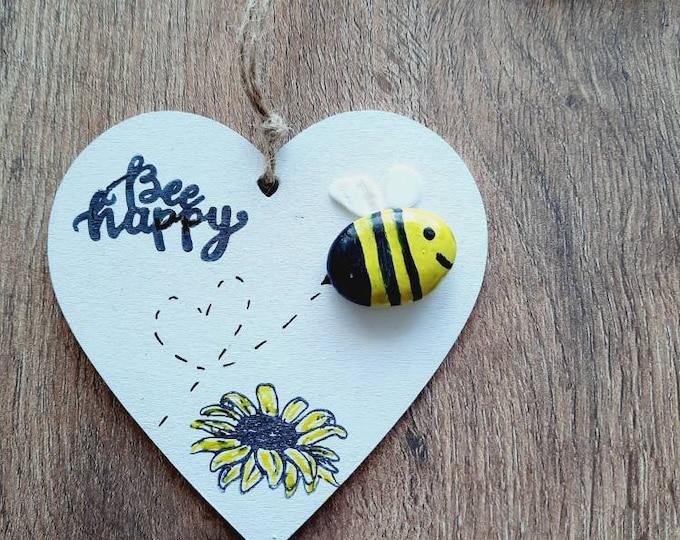 Cute pebble art wooden heart, bee happy, heart gift, birthday gift, teacher gift, friend gift, bee gift, bee heart, thinking of you.