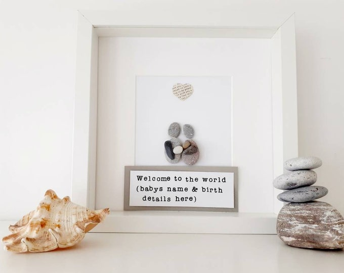 New baby, new baby framed art, personalised family pebble art picture. christening gift, birthday present, naming day gift, adoption present