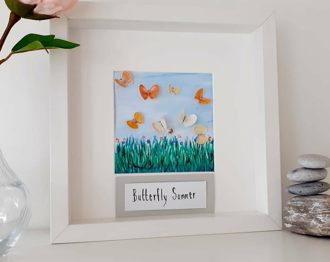 Butterflies, shell art, coastal shell art picture, butterfly art, framed art, birthday gift, anniversary gift, new home gift, wedding gift