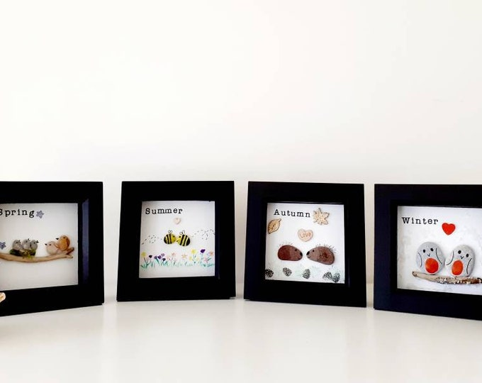 Collection of pebble pictures, pebble art pictures, framed pebble art, the seasons, new home gift, birthday gift, nursery gift, teacher gift