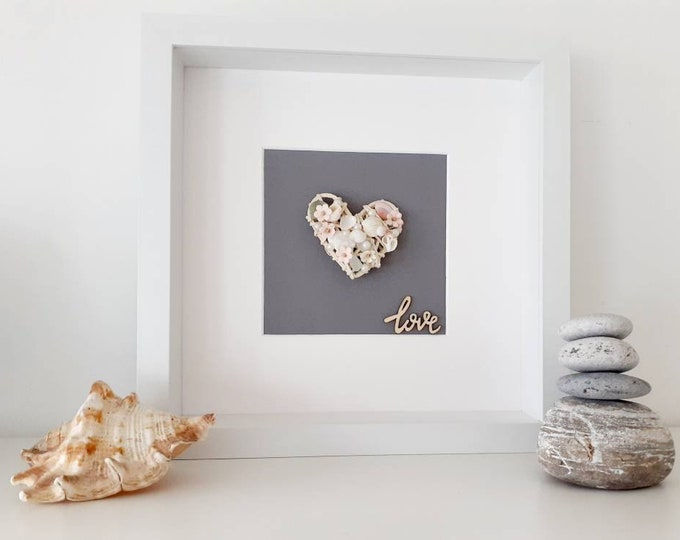 Mothers day coastal pebble art picture, mothers day present, wedding gift, valentines day gift, anniversary gift, romantic gift.