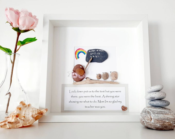 Personalised homeschooling pebble art picture, mothers day gift, mothers day present, home school gift, teacher gift, best teacher,