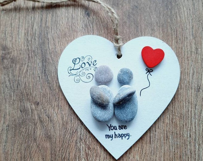 Cute pebble art, pebble wooden heart, heart gift, engagement, valentines day gift, anniversary gift, birthday gift, love gift.