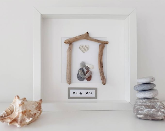 Mr & Mrs pebble art picture, personalised family picture, wedding gift, wedding present, newly weds gift, new home gift, anniversary present