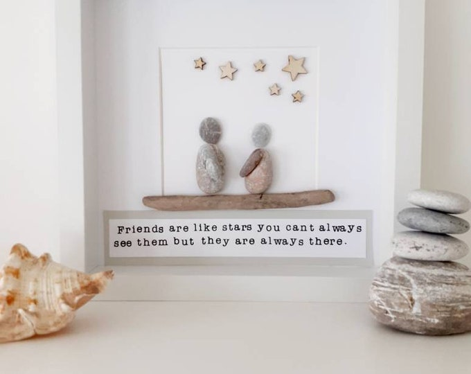 Special friend pebble picture, personalised pebble art, special friend gift, special friend present, moving gift, moving present