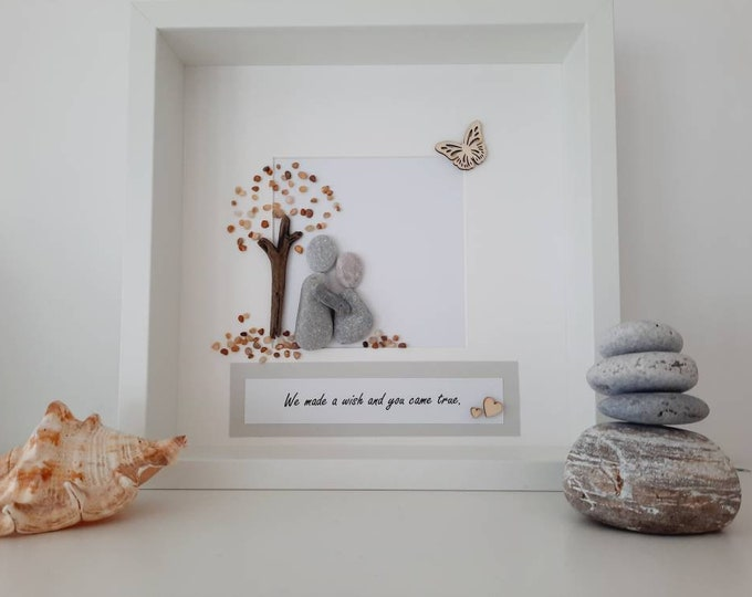 We made a wish and you came true pebble art picture, pregnancy gift, baby gift, christening gift, adoption gift, expecting gift, coastal