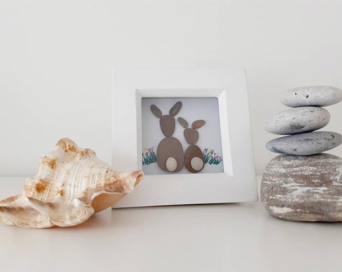 Bunny love gift, cute pebble art picture, lovers gift, mothers day gift, Valentines gift, birthday gift, anniversary gift,
