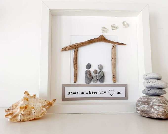 Home is where the heart is gift, pebble art picture, pebble picture, framed pebble art, new home gift, unique home gift, personalised gift.