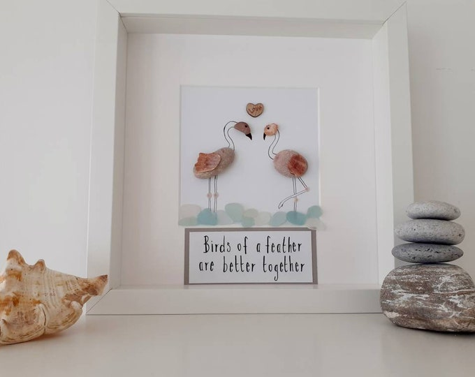 Flamingos fun pebble art picture, flamingo framed picture, best friend gift, new home gift, anniversary gift, birthday gift