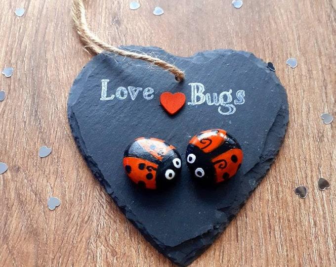 Cute pebble art slate, pebble heart slate, slate gift, romantic gift, engagement present, valentines day gift, anniversary gift easter gift.