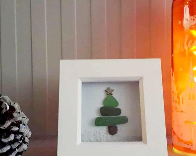 Christmas tree sea glass art picture, Christmas gift, Christmas home decor coastal Christmas decoration, framed sea glass