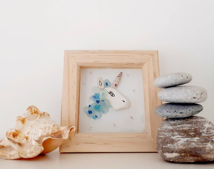 Unicorn pebble art picture, mothers day gift, childs birthday gift, fun gift, gift for a Loved one.