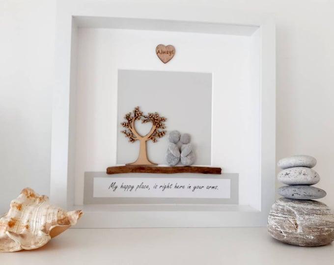Personalised anniversary pebble art picture, romantic birthday gift, wedding gift, wedding present, valentines gift,