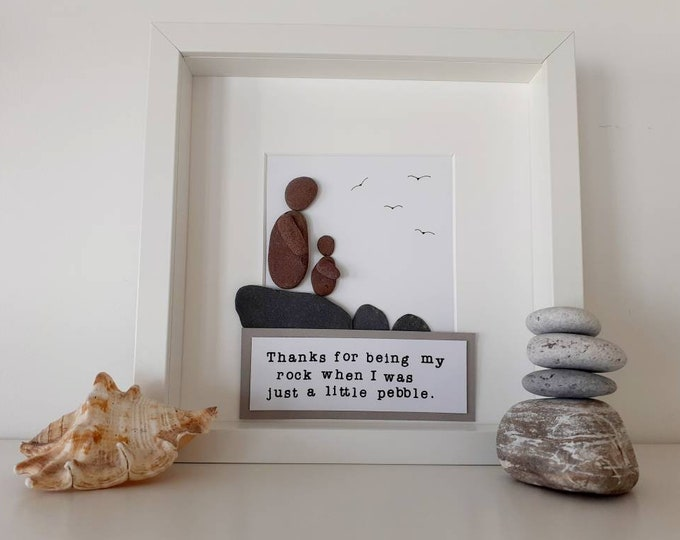 Fathers day gift, personalised gift for fathers day, gift for grandad, coastal gift for grandad, pebble art picture for grandad