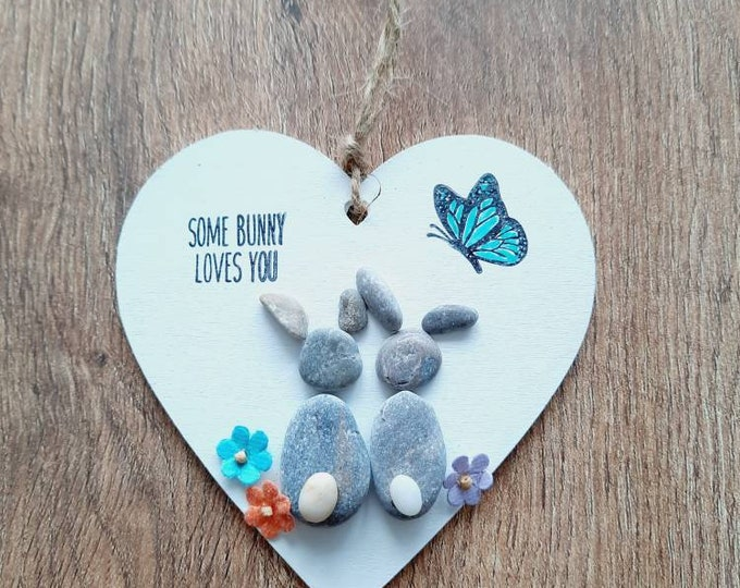 Cute pebble art,pebble heart, wooden heart, heart gift, engagement present, valentines day gift, anniversary gift easter gift.