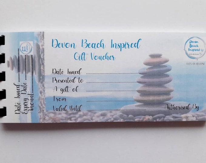 Gift Voucher, pebble art gift, framed art, slate art, coastal art, coastal gift, mermaid treasure gift, sea glass, birthday gift for her.
