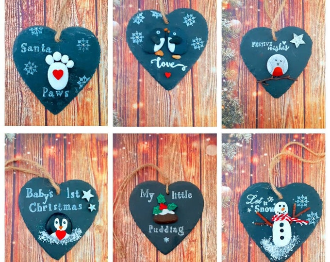 Christmas Tree Decoration... Cute pebble art slate heart. The perfect gift for a loved one, Friend or Special Teacher.