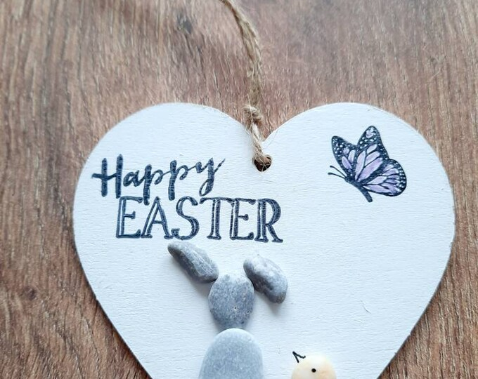 Cute pebble art, pebble heart, wooden heart, bunny gift, easter gift, Easter decoration, hanging heart, Easter present.