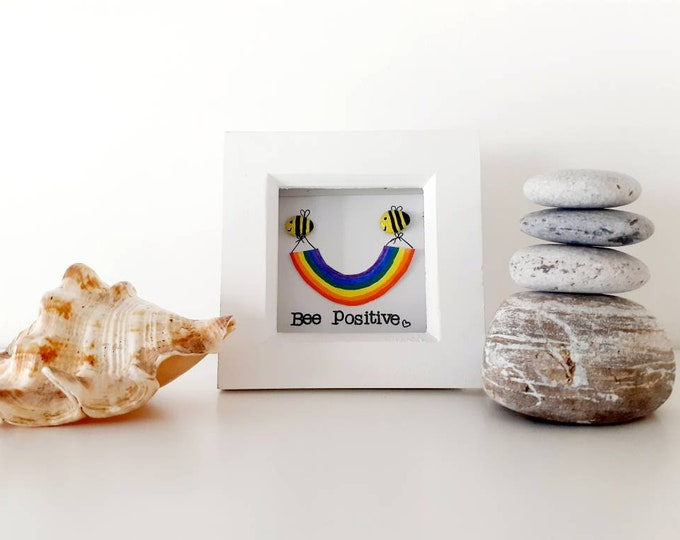 Bee positive pebble art picture, positive quote framed picture, birthday gift, thinking of you gift, teacher gift, lockdown
