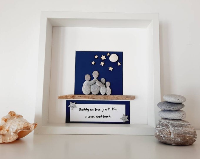 Father's Day Gift, personalised dad gift, gift for dad, gift for daddy, dad pebble art, framed pebble picture.