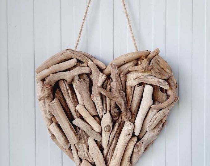 Driftwood heart, hanging driftwood heart, coastal decor, coastal heart, handcrafted driftwood. Coastal wall decor. Driftwood wall decor.
