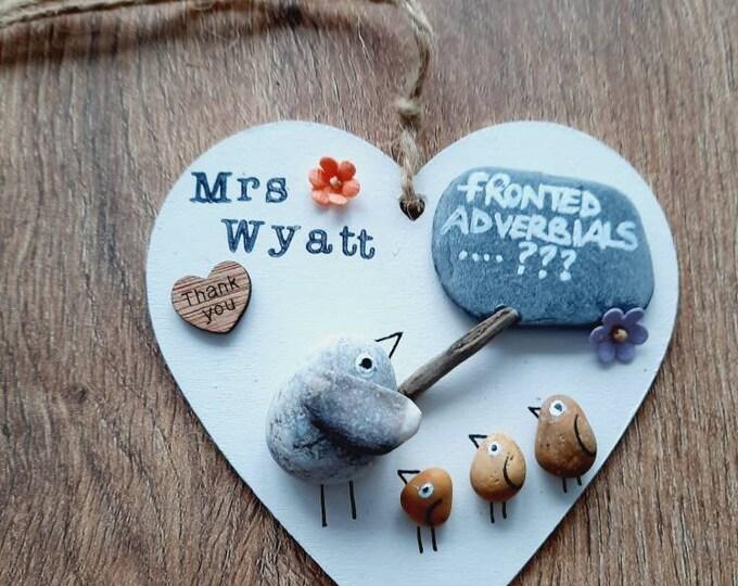 Cute pebble art, wooden pebble art heart, teacher gift, thank you teacher gift, best teacher, special teacher, thank you gift.
