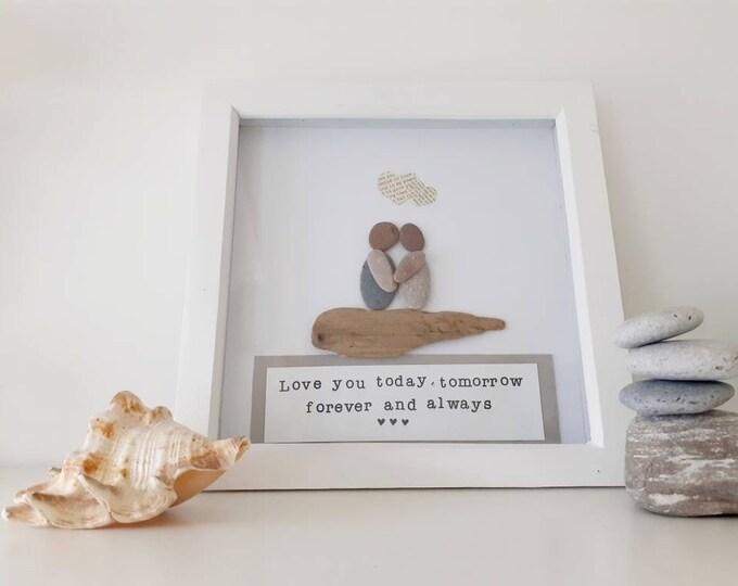 Romantic pebble art picture, love art, romantic picture, romantic framed picture, romantic gift, anniversary gift, anniversary present,