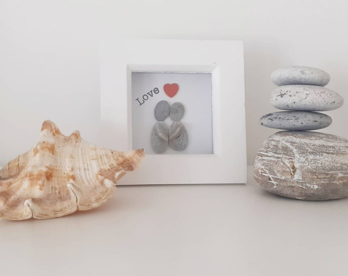 cute love pebble art picture, personalised picture, mini framed art, mothers day gift, valentines gift, wedding gift, engagement gift