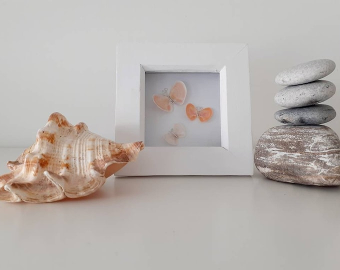Butterfly pebble art picture, coastal picture, mothers day gift, birthday gift, anniversary gift, thank you gift.