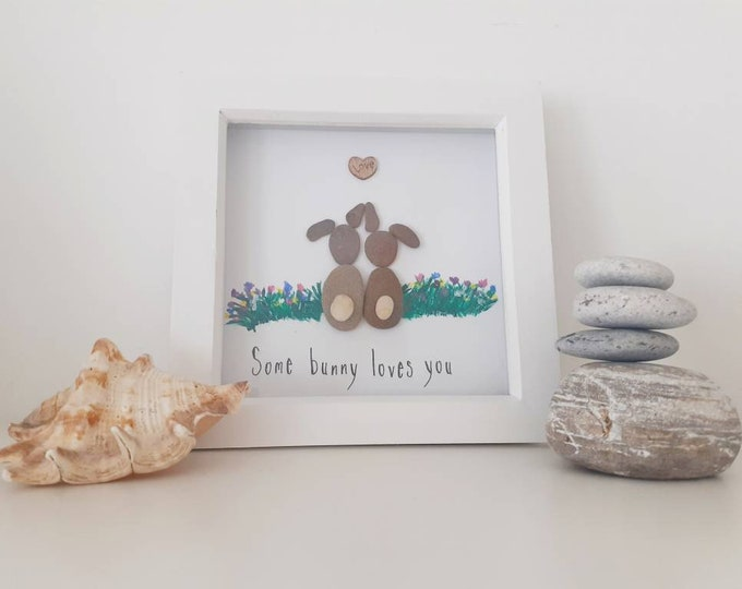 Some bunny loves you... pebble art picture.  Perfect gift for valentine's day, birthday, new baby, anniversary.