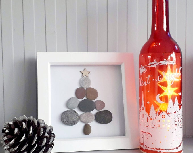 Christmas tree... pebble picture. perfect gift for a loved one or for your home at Christmas.