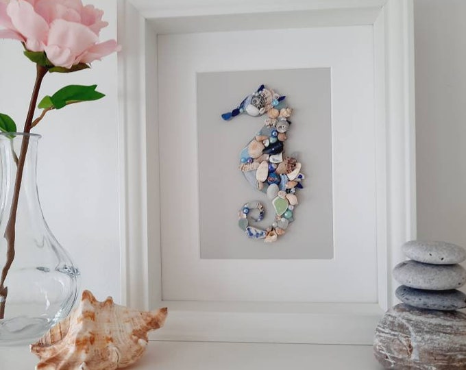 Seahorse wall decor, Seahorse created with shellsand beach treasures, coastal Seahorse, Seahorse framed picture, coastal gift home decor.