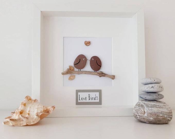 love birds, love bird picture, pebble art picture, romantic gift, engagement present, engagement gift, wedding gift, birthday present